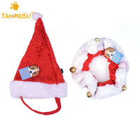 Pet Dog Cat Santa Hat Collar Set With Jingle Bells Cute Pets Puppy Kitten Christmas Xmas Pets Cap