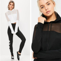 Fashion Casual Perspective Gauze Stitching Hooded Sweater Long Sleeve Short Tops Sweatshirt