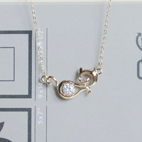 Rose Gold Necklace-Cat pendant necklace,Cheap necklace,Tiny necklace,Dainty necklace,Everyday necklace,her necklace,gift