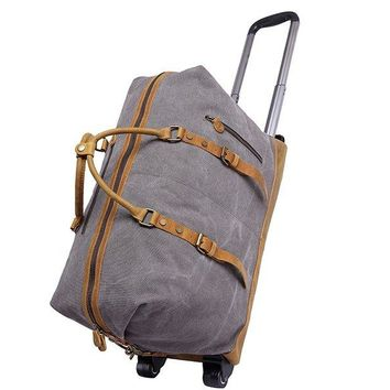 BLUESEBE LARGE CANVAS LEATHER TRIM TRAVEL DUFFEL TROLLEY (WHEEL) BAG YD2077-A