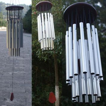27 Tubes Silver Bronze Bells Church Wind Chimes Hanging Garden Decorations