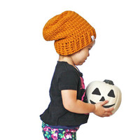 Orange Pumpkin Pie Baby Beanie Crochet Slouch Baby Beanie Any Size 0-8 Years Fitted or Slouchy style
