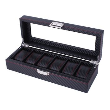 GENBOLI Luxury Carbon Fiber 6 Slots Watches Box Jewelry Watches Display And Storage Box Organizer Durable Leather Case Gift