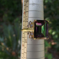 5.21 ct Mystic Topaz & 0.42 ct Tanzanite 10kt Solid Gold Ring