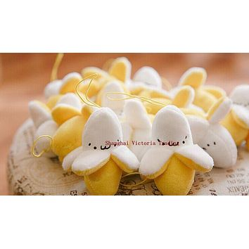 Super Cute 6CM Little Yellow Banana Plush Stuffed TOY , small String Keychain plush doll TOY