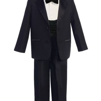 Boys Black 2-Button Single Breast Tuxedo w. Cummerbund 3m-14