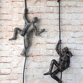 Metal sculpture, Climbing woman on rope, home decor, Abstract sculpture, Contemporary wall art
