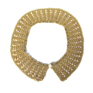 Vintage Collar Necklace Faux Pearl Rhinestone Beaded Peter Pan Collar Woven Gold Metal Chain 1950s Costume Necklace