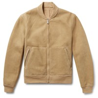 Beige Shearling Reversible Bomber Jacket by Todd Snyder
