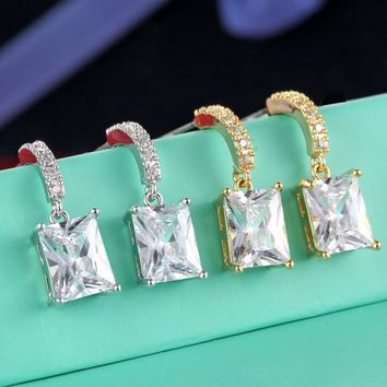 HONGHONG high quality Square Zirconia Earrings for women 2017 The best gift for a friend Popular female jewelry # E80003