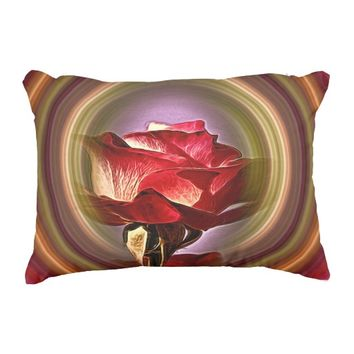 Rose in a colorful circle on a cotton throw pillow