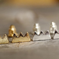Gold & Silver plated mountain crown stud earrings (EA00038)