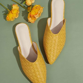 Point Toe Braided Flat Mules
