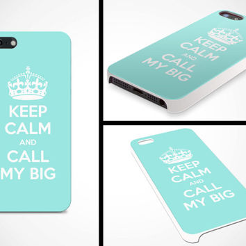iPhone 5 Cell Phone Case Keep Calm and Call My Big Sorority Sister Big Little Grand Greek Apple Protective White Plastic Hard Cover VM-1052