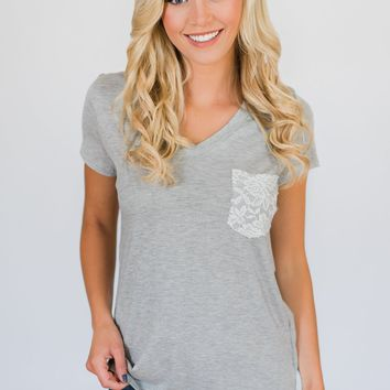 Torn Over You Lace Pocket Top- Heather Grey
