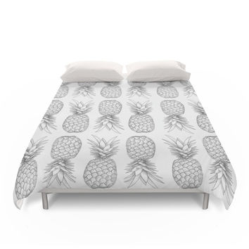 Society6 Tooti Fruity Pineapple Duvet Cover