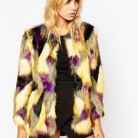 Tiger Mist Patched Faux Fur Coat
