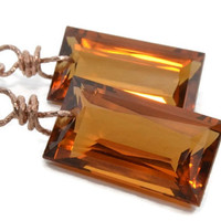 Madeira Citrine Earrings, Rose Gold Jewelry, Luxe Gemstone, Handmade