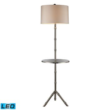 D1403S-LED Stanton LED Table Lamp In Silver Plating With Glass Tray And Pure White Shade