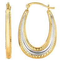 10K 2 Tone White And Yellow Gold Oval Shape Hoop Earrings