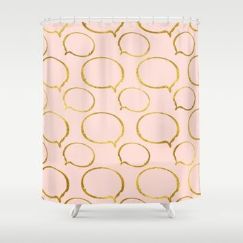 Pink And Gold Shower Curtain Society6 Gold and Pink Confetti