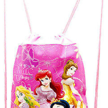 Disney Lite Pink Princess Let the Magic Begin Drawstring Backpack Tote Gym Bag!