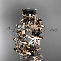 Unique 14k rose gold diamond floral engagement ring with a Black Diamond center stone ADLR339