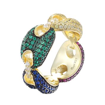 Men's Silver Gucci Link Multi Color Lab Diamond Ring