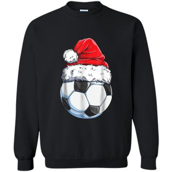 Santa Soccer Ball Christmas Boys Kids Xmas Hat Gifts Printed Crewneck Pullover Sweatshirt