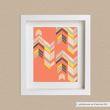 Art Print 11x14 Chevron - Orange