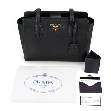 Prada Vitello Phenix Black Leather Shopping Tote Handbag 1BG111