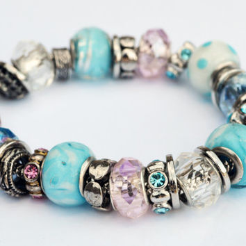 Light Blue and Pale Pink Frost Pandora Inspired Glass Beaded Bracelet with Silver Embellishments