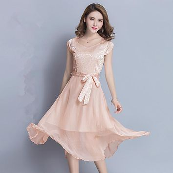 NRH1079F#The new summer 2017 Bride wedding pink dress mulberry silk large size simple giant swing long dress Bridesmaid Dresses