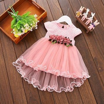 2017 New Arrival Summer Dress Lace Floral Princess Dress Children Girls Party Wedding Tulle Pleated Dresses 0-3Y