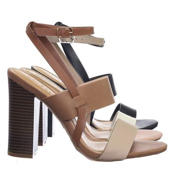 Faith33 M6Block Wooden Stack Heel w Color Block  Ankle Strap