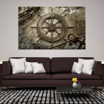 98180 - Ship Wheel Canvas Art | Nautical Wall Art | Maritime Wall Decor | Extra Large Ship Wheel Art | Nautical Decals | Framed Steering Wheel Canvas