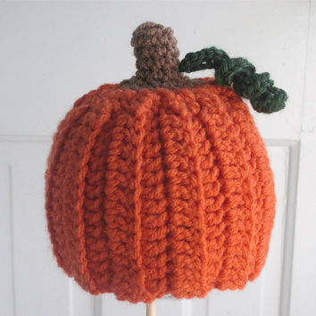 Infant // Baby // Toddler  -  Crochet Pumpkin Hat.  Great for Halloween // Thanksgiving // Fall