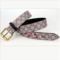 GUCCI fashion man women Smoothing belt snake print belt F