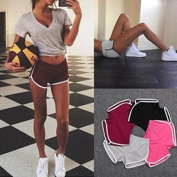 Womens Sports Shorts Pants Gym Workout Waistband Skinny Yoga Short
