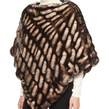 "Faux-Mink Poncho, Shadow, Size: 32"", SHADOW MINK - Fabulous Furs"