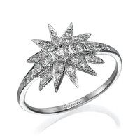 Unique Diamond Ring  Star Design White Gold With Diamonds, Star Ring, Art Deco Ring, Wedding Ring, Gispandiamonds, Engagement Ring
