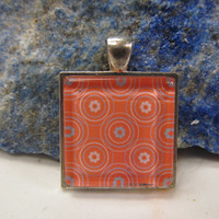 "Peach & Blue- Glass Pendant - 1"" Sq"