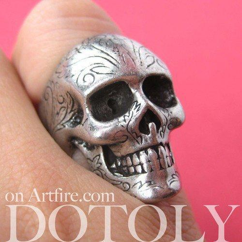 Realistic Skull Skeleton Bone Ring in Silver with Tattoo Floral Detail