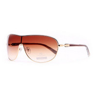 Shield Frame Fashion Sunglasses w/ Transparent Accented Sides - Coffee/Gold