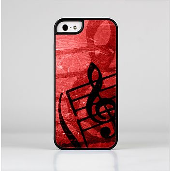 The Scratched Red Surface with Black Music Note Skin-Sert for the Apple iPhone 5-5s Skin-Sert Case