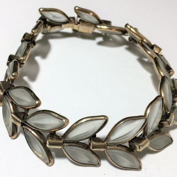 Crown Trifari Poured Glass Bracelet, Frosted Leaf Design, Gold Tone Setting, 1950s Mid Century Vintage Jewelry, Arm Party, 718m