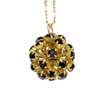 Black Rhinestone Ball Pendant on Long Thin 18kt Gold Electroplated Figaro Chain - Black Necklace, Rhinestone Sphere, Rhinestone Orb, Vintage