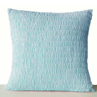 Light Blue Cotton Pillow -Ruched blue pillow -Sky blue cushion -Pleated pillow -20x20- Cotton Cushions- Blue Ruched Euro Sham- Bedding- Kids