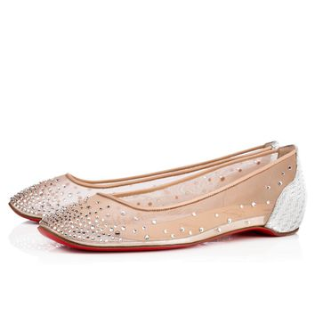 Christian Louboutin Cl Patinotte Flat Version Crystal Strass 18s Bridal 1180371sv57 - Best Online Sale