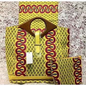 Baba Fashion Designer African Print Bag And Cosmetic Purse  With Wood Handle